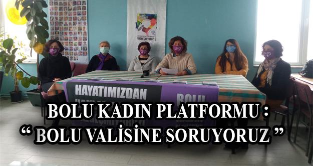 BOLU KADIN PLATFORMU: 'BOLU VALİSİNE SORUYORUZ!'